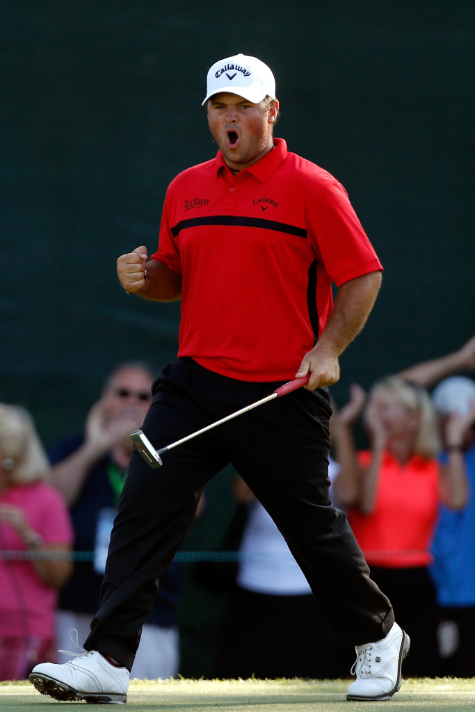 PALM HARBOR, FL - MARCH 15:  Patrick Reed reacts after a birdie putt on the 18th green during the final round of the Valspar Championship at Innisbrook Resort Copperhead Course on March 15, 2015 in Palm Harbor, Florida.  (Photo by Mike Lawrie/Getty Images)