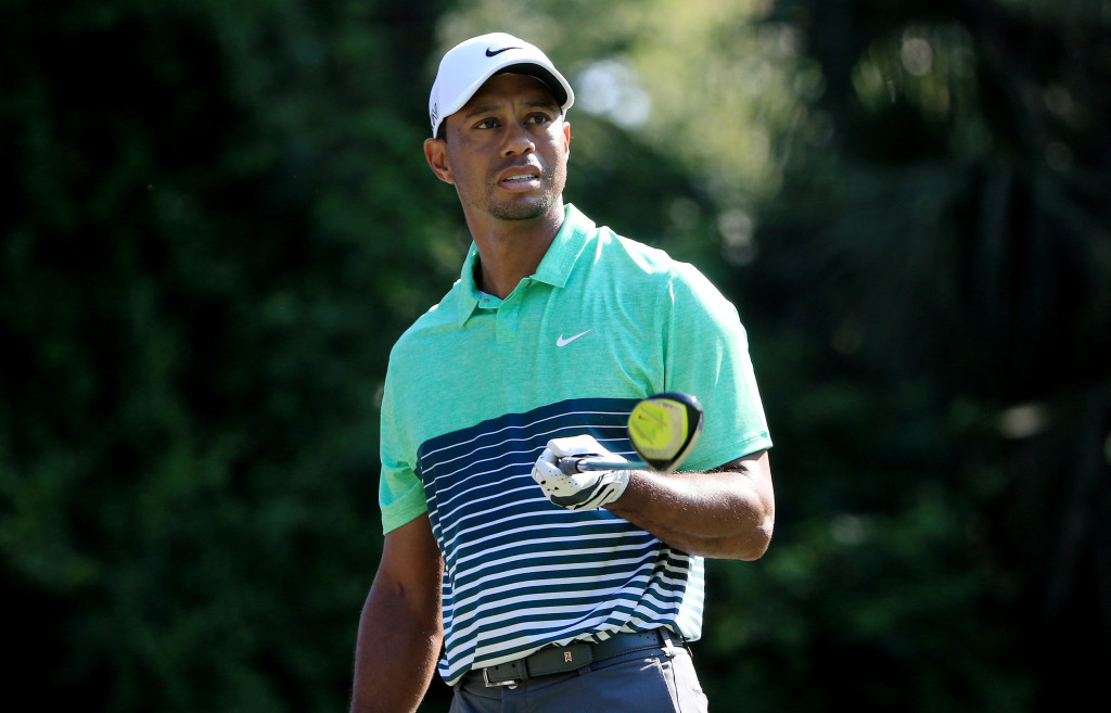 PONTE VEDRA BEACH, FL - MAY 09:  Tiger Woods plays his shot from the second tee during round three of THE PLAYERS Championship at the TPC Sawgrass Stadium course on May 9, 2015 in Ponte Vedra Beach, Florida.  (Photo by Sam Greenwood/Getty Images)