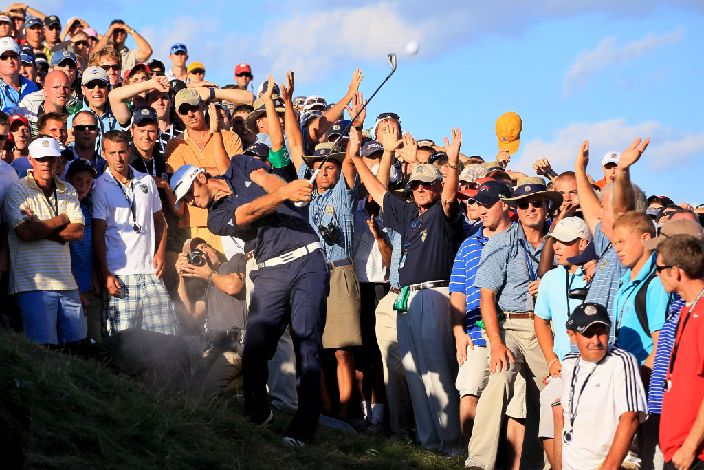 Missed chance: Dustin Johnson hits his second shot on the 18th hole in 2010 (Photo by Andy Lyons/Getty Images)
