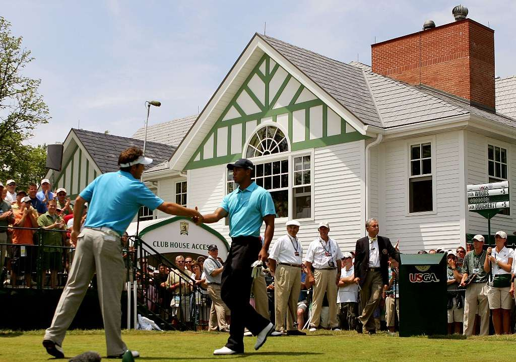 Seconds out, round three: Dougherty and Woods on the tee before Saturday's play in 2007 (photo by Getty Images)